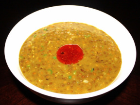 Masoor dal with onion and tomato tadka