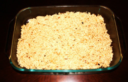 Layer the rice in the baking dish