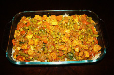 Spread the cooked vegetables over rice