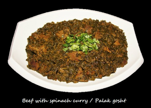 Beef with Spinach curry (Palak Gosht)