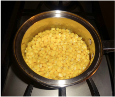 Corn is boiled