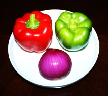 Red capsicum , Green capsicum and onion