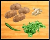 Potatoes, Green chili, Ginger & Coriander leaves