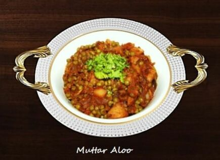 Muttar Aloo with Tomatoes and Onion
